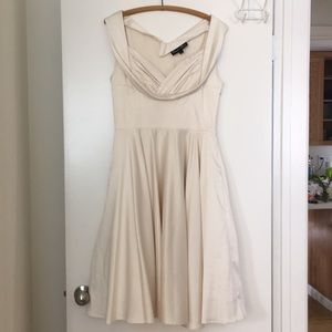 Cream Satin Fitted Cocktail Dress With Pockets